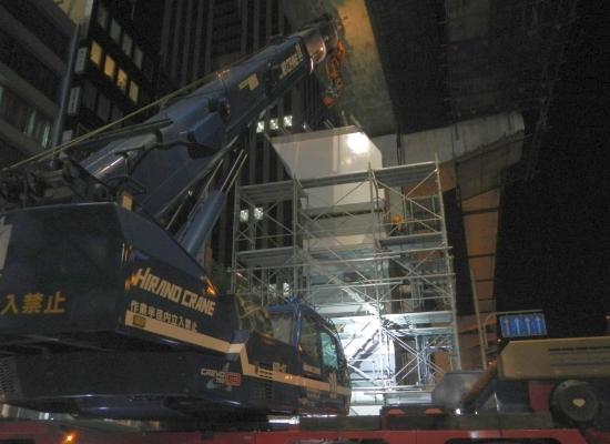 4ブロック 鋼製橋脚架設
