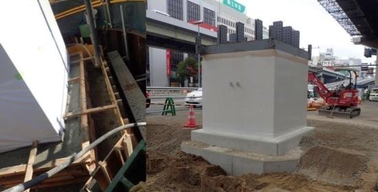 4ブロック 鋼製橋脚根巻きコンクリート打設