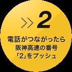 電話がつながったら阪神高速の番号「2」をプッシュ