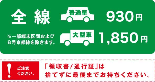 全線、普通車930円、大型車1,850円。※一部端末区間および8号京都線を除きます。「領収書/通行証」は捨てずに最後までお持ちください。